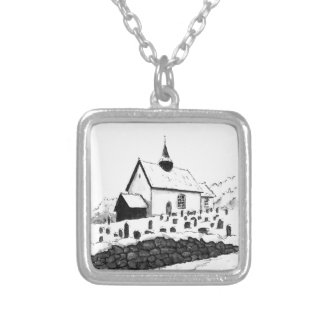 church & graveyard in winter ink landscape drawing square pendant necklace