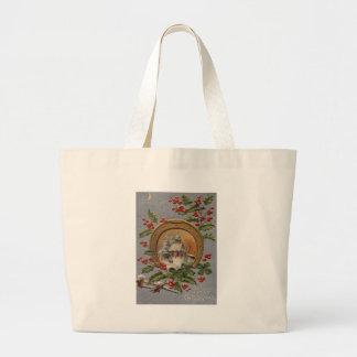Church Holly Christmas Tree Gold Horseshoe Jumbo Tote Bag