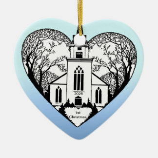Church in a Heart - Customizable Ornament