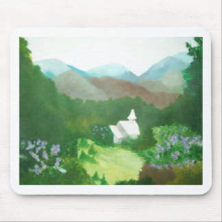 church in a valley mouse pad