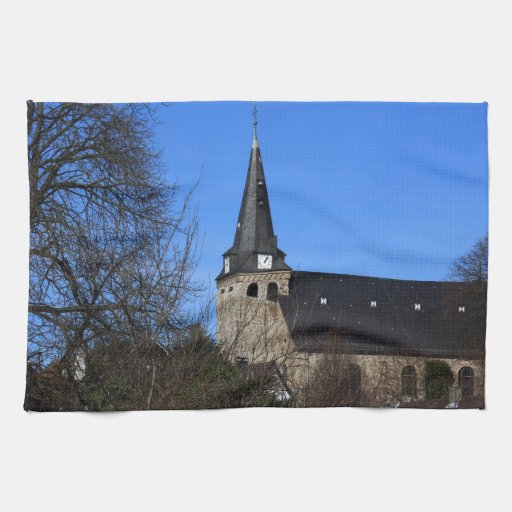 church in early spring 2 kitchen towels