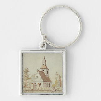 Church in Pankow, Berlin Silver-Colored Square Key Ring