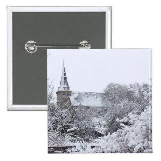church in snow 15 cm square badge