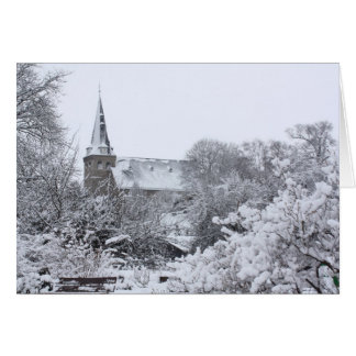 church in snow card