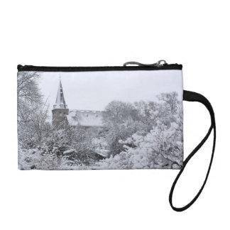 church in snow coin purses