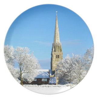 Church in the snow plate