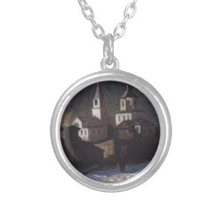 Church of Elijah the ordinary in Moscow by Aleksey Round Pendant Necklace