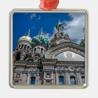 Church of Our Savior on The Spilled Blood Silver-Colored Square Decoration