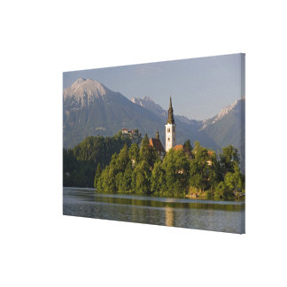 Church of the Assumption on island in Lake Canvas Print