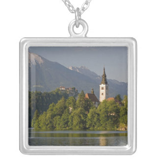 Church of the Assumption on island in Lake Silver Plated Necklace