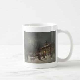 Church on Christmas Eve Basic White Mug