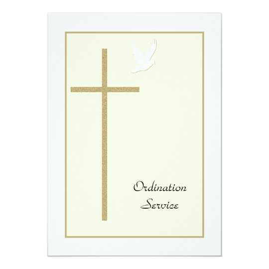 Church Ordination Invitation Cross & Dove