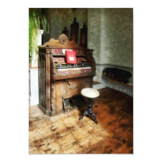 Church Organ With Swivel Stool 13 Cm X 18 Cm Invitation Card
