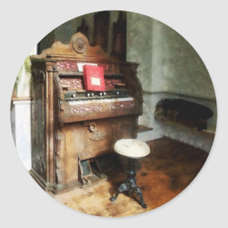 Church Organ With Swivel Stool Round Sticker