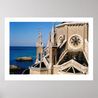 Church Overlooking the Ocean Posters
