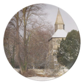 Church Picture Plate - Church In The Snow 02
