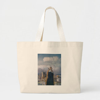 Church, Sheep and Lady in 16th Century Dress Jumbo Tote Bag