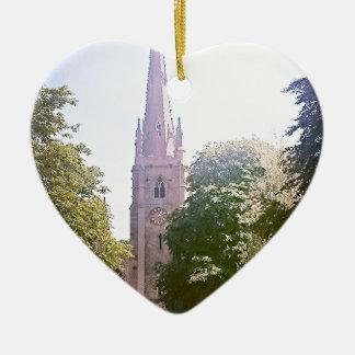 Church spire ceramic heart decoration