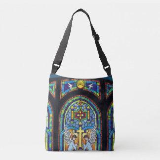 Church Stain Glass Window Cross Angels Crossbody Bag