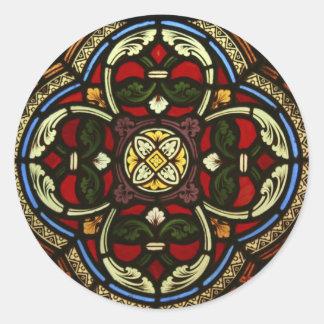 Church Stained Glass Round Sticker