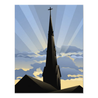 Church Steeple at Dawn Card
