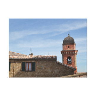 Church tower in Frontone a mountain village in the Canvas Print