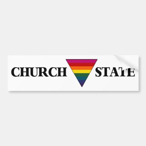Church Triangle State Rainbow bumper sticker white