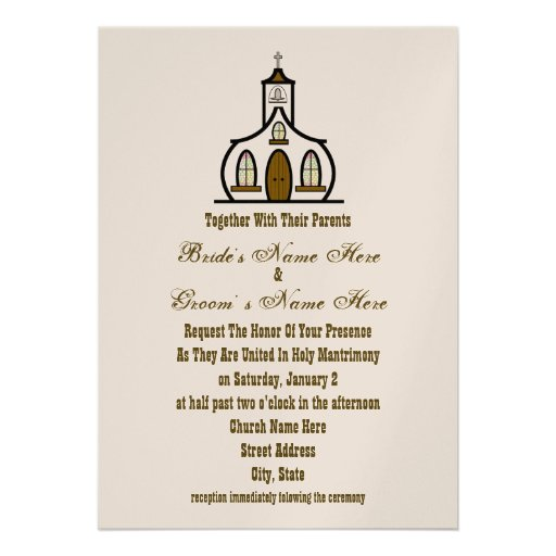 Church Wedding Invitation - Together With Parents