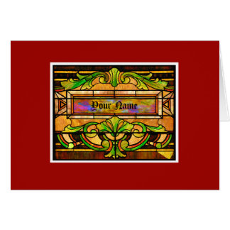 Church Window Note Card (Red)