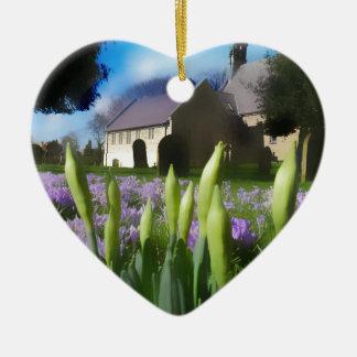 Church with artistic blur ceramic heart decoration
