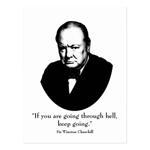 Churchill and Quote Postcard