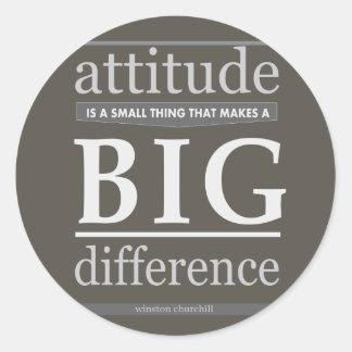 Churchill attitude small big difference round sticker