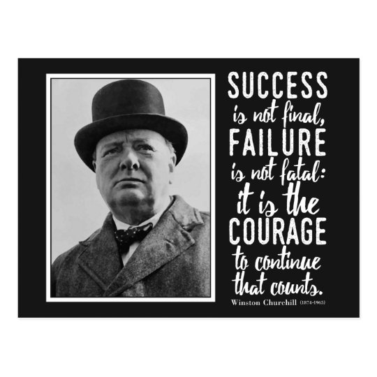 Churchill 'Courage to continue' quote postcard