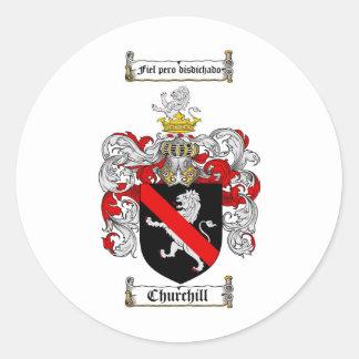 CHURCHILL FAMILY CREST -  CHURCHILL COAT OF ARMS ROUND STICKER