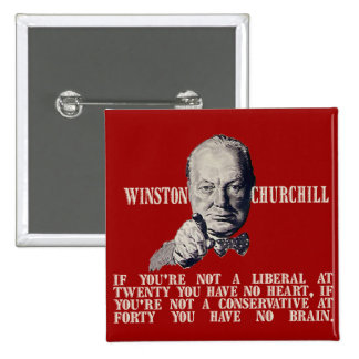 Churchill on Conservatives and Liberals 15 Cm Square Badge