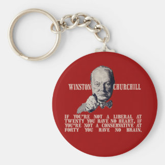 Churchill on Conservatives and Liberals Basic Round Button Key Ring