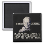 Churchill on Conservatives and Liberals Square Magnet