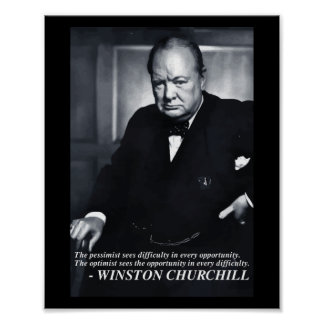 Churchill 'Optimist..opportunity' quote poster