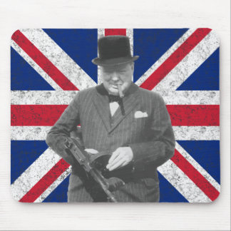 Churchill Posing With A Tommy Gun Mouse Mat