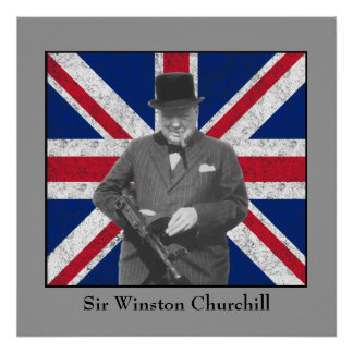 Churchill Posing With A Tommy Gun Posters