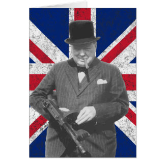 Churchill Posing With The British Flag Greeting Card