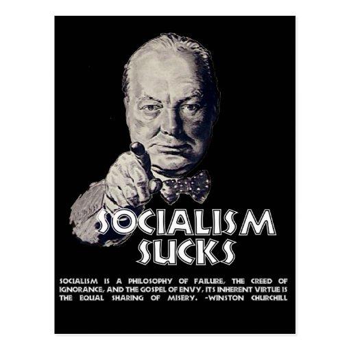 Churchill Quote: Socialism Sucks! Post Cards   Zazzle.co.uk