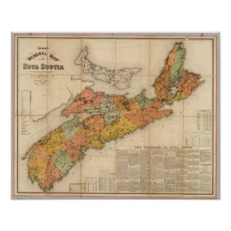 Church's mineral map of Nova Scotia Poster