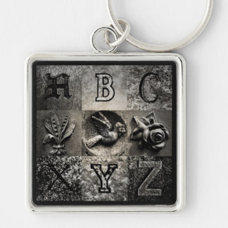 Churchyard ABCs Silver-Colored Square Key Ring