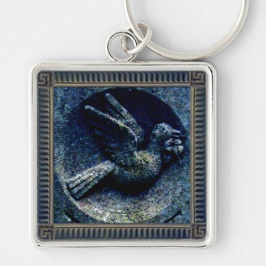 Churchyard Bird Silver-Colored Square Key Ring