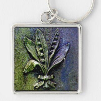 Churchyard Lily Silver-Colored Square Key Ring