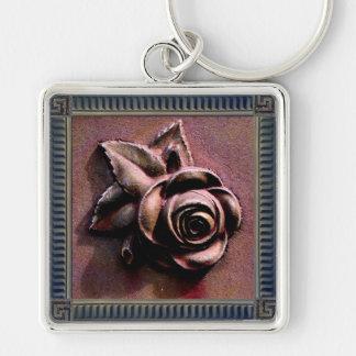 Churchyard Rose Silver-Colored Square Key Ring