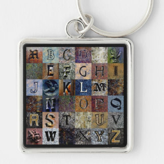 Churchyard Sampler Silver-Colored Square Key Ring
