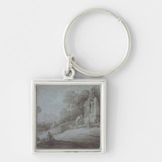 Churchyard with Figure Contemplating Tombstone (et Silver-Colored Square Key Ring