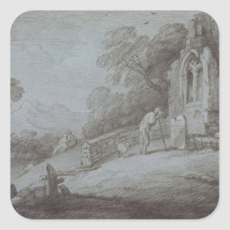 Churchyard with Figure Contemplating Tombstone (et Square Sticker